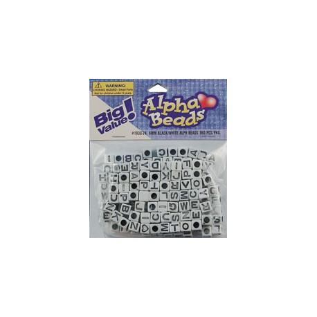 Perle Črke Bele kvadratne 6mm, luknja ⌀ 3mm, 160 kosov