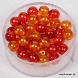 Kristalne perle 6mm, mešane Oranžne, 40 kosov