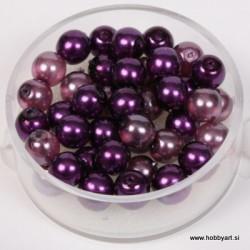 Kristalne perle 6mm, mešane Vijolične, 40 kosov