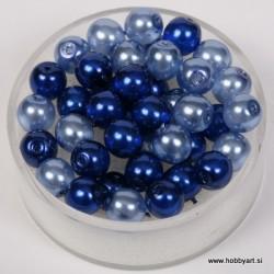 Kristalne perle 6mm, mešane Modre, 40 kosov