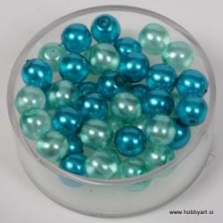 Kristalne perle 6mm, mešane Turkizne, 40 kosov