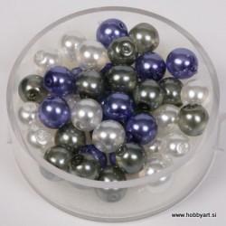 Kristalne perle 6mm, Bele, Sive,Vijol, 40 kosov