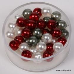 Kristalne perle 6mm, Bele, Rdeče, Sive, 40 kosov