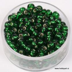 Perle srebrna sredica 4,5mm zelene 17g.