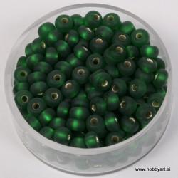 Perle srebrna sredica mat 4,5mm zelene 17g.