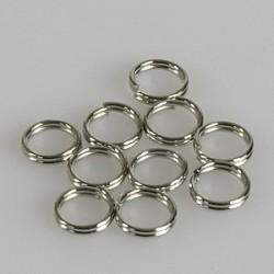Zaključni obroček dvojni 6mm, set 10, srebrne b.