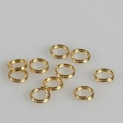 Zaključni obroček dvojni 6mm, set 10, zlate b.