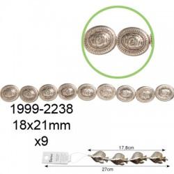 Kovinske perle velike Ovalne 18 x 21mm, 9 kosov
