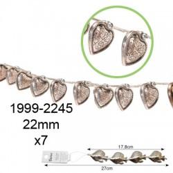 Kovinske perle velike Srca 20mm, 7 kosov
