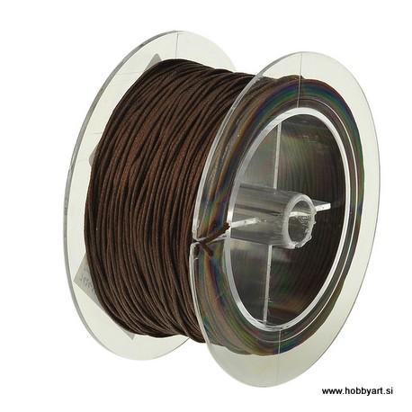 Povoščena tekstilna vrvica 1mm, Rjava 50m