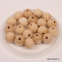 Lesene kroglice natur 15mm, 20 kos pr. luk. 4mm