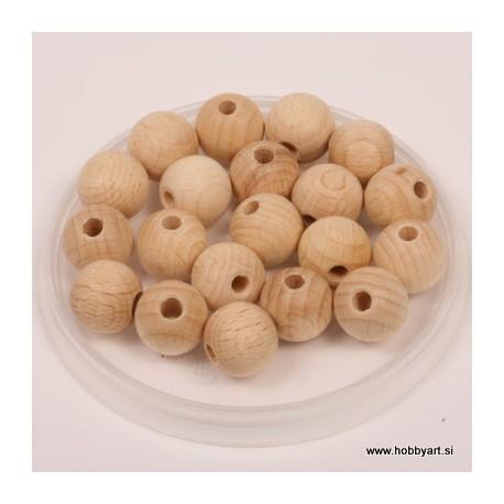 Lesene kroglice natur 15mm, 18 kos pr. luk. 4mm