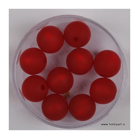 Polaris perle mat 10mm, Rdeča 10 kos