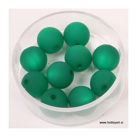 Polaris perle mat 10mm, Zelena 10 kos