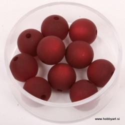 Polaris perle mat 10mm, T. rdeča 10 kos