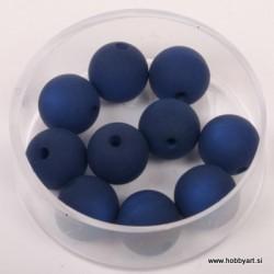 Polaris perle mat 10mm, T. modra 10 kos