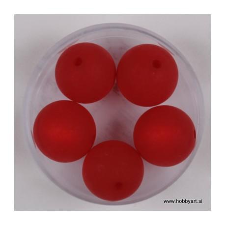 Polaris perle mat 14mm, Rdeča 5 kosov