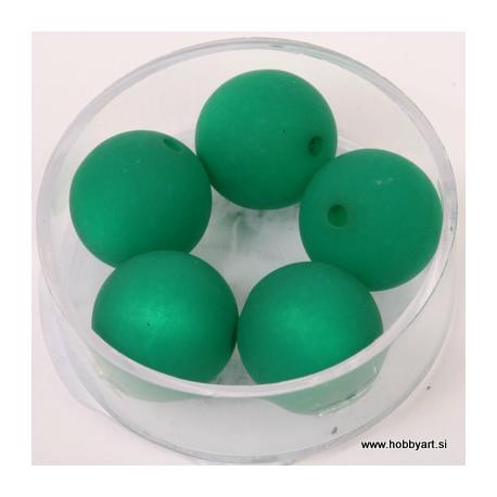 Polaris perle mat 14mm, Zelena 5 kosov
