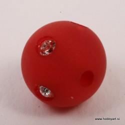 Polaris perla z biserčki 10mm, Rdeča 1 kos