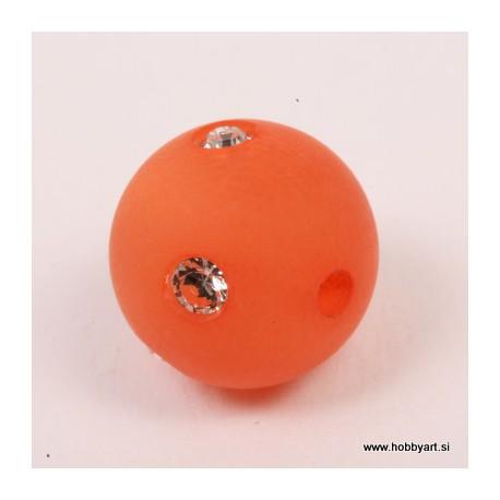 Polaris perla z biserčki 10mm, Oranžna 1 kos
