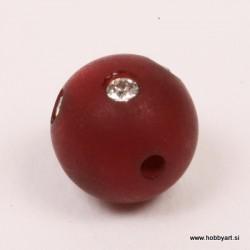 Polaris perla z biserčki 10mm, Temno rdeča 1 kos