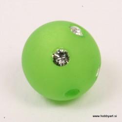 Polaris perla z biserčki 10mm, Sv. zelena 1 kos