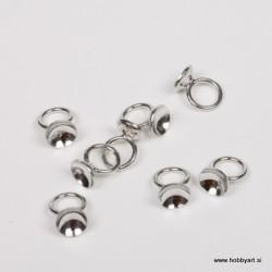 Nastavek z obročkom za perle 6 mm, 8kos, Platinaste b.