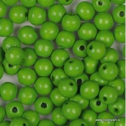 Lesene perle 6mm, Sv. zelene, 125 kosov