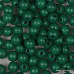 Lesene perle 6mm, Tem. zelene , 125 kosov