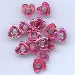 Zakovice Srca 10mm, Fuksija, 15 kosov