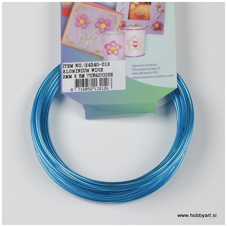 Aluminijasta žica 2mm x 5m, Turkizna
