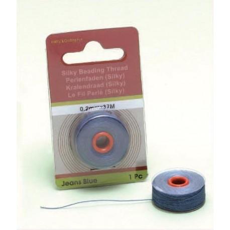 Svilena vrvica za perle, Modra, 0,2mm x 37m