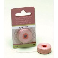 Svilena vrvica za perle, Pink, 0,2mm x 37m