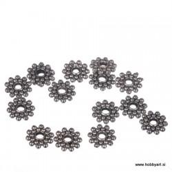 Kovinske perle antični srebrna b, 15 kosov