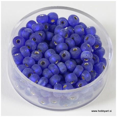 Perle srebrna sredica mat Modre 4,5mm, 17g.