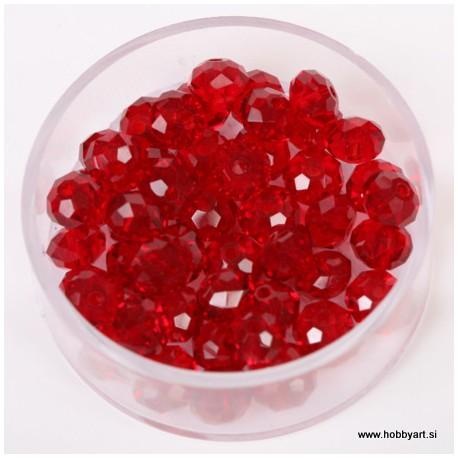Brušene steklene perle 4x6mm, Rdeče, 48 kosov