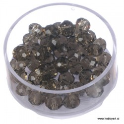 Brušene steklene perle 4x6mm, Antracitne, 48 kosov