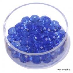 Brušene steklene perle 4x6mm, Modre, 48 kosov