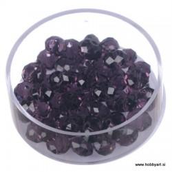 Brušene steklene perle 4x6mm, Tem. vijolične, 48 kosov