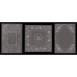 Vzorci na paus papirju 13,5 x 13,5mm, 3 kosi Rože