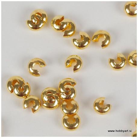 Pokrivne perle za štoparje, 5mm, Zlate b. 50 kosov