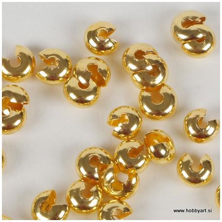Pokrivne perle za štoparje, 6mm, Zlate b. 50 kosov