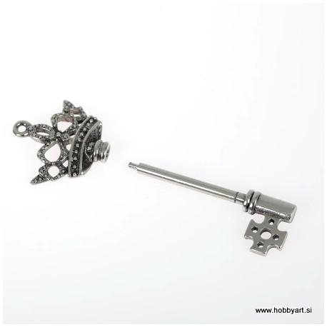Obesek ključ z navojno glavo 7,5cm Platinaste b.