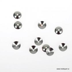 Metalna kapa za perle 6mm, Platinaste b. 12 kosov