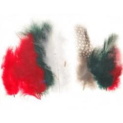 Mešano perje Marabu-Guinea 6 x 3kos, Božične b.