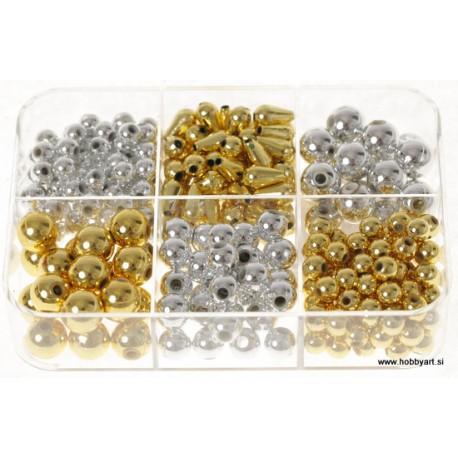 Komplet akrilnih perl Zlate Srebrne cca 6 do 10mm