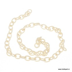 Svilena verižica cca 7 x 11mm, Bež 0,5m