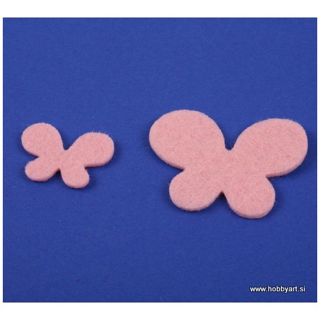 Metuljči iz filca 3 - 5cm, Roza, 12 kosov