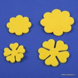 Rožice iz filca 35 - 55mm, Rumene, 10 kosov