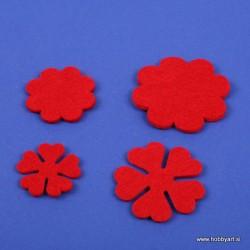 Rožice iz filca 35 - 55mm, Rdeča, 10 kosov
